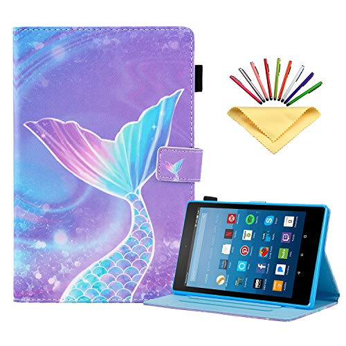 Kindle Fire HD 8 Tablet 8th/7th/6th Generation Case 2018 2017 2016, Uliking Smart PU Leather [Auto Wake/Sleep] Folio Stand Cover with Card Pencil Holder for Amazon Fire 8 inch, Pink Mermaid Tail Scale