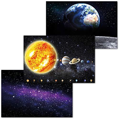 GREAT ART 3er Set XXL Poster Kinder Motive – Solar System – Milchstraße Erde vom Mond Ausblick Mondlandung Planeten Universum Dekor Inneneinrichtung Wandbild Plakat je 140 x 100 cm