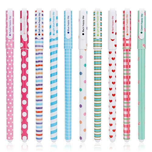 Gobesty - Penne gel per ragazze, colorate, carine, cancelleria a sfera, set di penne a inchiostro gel multicolore per scrivere disegni e regali, confezione da 10