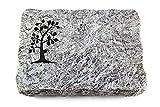 Wilhelmy Grabmale Grabplatte, Grabstein, Grabkissen, Urnengrabstein, Liegegrabstein Modell Pure 40 x 30 x 5 cm Marina Blue-Granit, poliert inkl. Gravur (Sandstrahl-Ornament Baum 1)