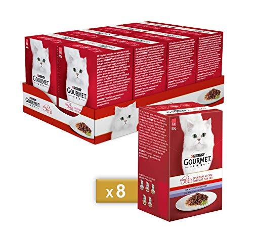 Purina Gourmet Mon Pett - Húmedo para Gatos con Carne de Vacuno, Ternera y Cordero - 48 Sobres de 50 g Cada uno (8 Paquetes de 6 x 50 g)