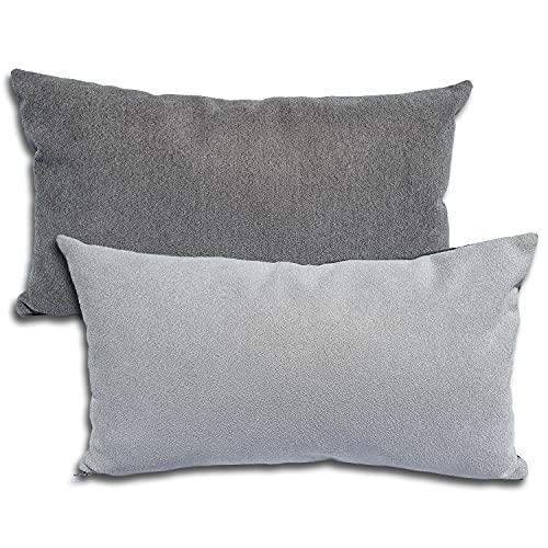2er Set Sofakissen 50x30 cm, Zierkissen 2 Stück, Dekokissen, Couchkissen, 2 Bezüge + 2 Füllkissen - Kissen (grau zweifarbig)