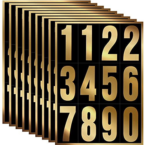 96 Pieces 8 Sets Vinyl Mailbox Number Stickers, Waterproof Numbers Stickers Anti-Fading Vinyl Number Decals Pre-Spaced Number Signs for Mailbox Car Home, 3 Inch (Gold in Black)