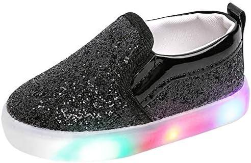 Szsppinnshp Toddler Girl s Light Up Sequins Slip On Loafers Baby Glitter Shoes Flashing LED product image