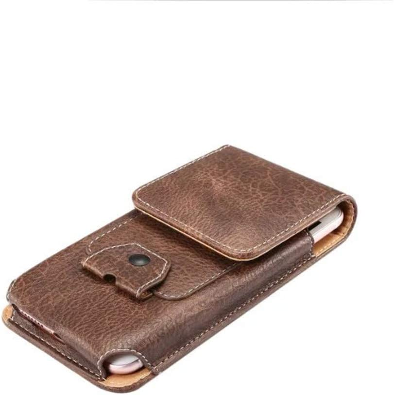 Faux Leather Vertical Cellphone Belt Loop Case Holster Pouch Holder with Card Slot for Motorola Moto G7 Power G7 G6 Plus G6 Play Z4 Z3 Z3 Play E5 Z 2018 / OnePlus 6T, 6 / Google Pixel 3 XL 2XL (Brown)