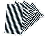 wellhouse ランチョンマット 綿 麻 大きい 60x40cm 雰囲気アップ ストライプ柄 布 丸洗いOK (単層ブルー L)