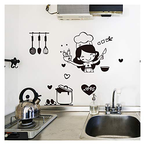 Kitchen vinyl wall sticker household decorative restaurant cute chef wall stickers waterproof detachable switch depressed kitchen decoration (Size : 30X20CM)