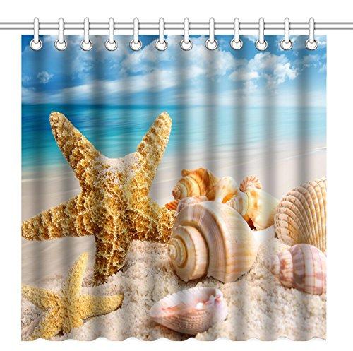 Qilerongrong Seestern Conch Badezimmer Duschvorhang, Anti-Schimmel 100prozent Polyester Badewanne Duschvorhänge, 3D Effekt & Digitaldruck, Wasserdicht mit 12 weißen Haken, 180 x 180cm