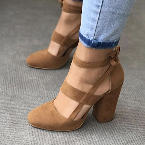 Donyyyy Einer Frau Schuh mit einem einzigen Schuh mit einem high heel Krawatte, Apricot Farbe, 41