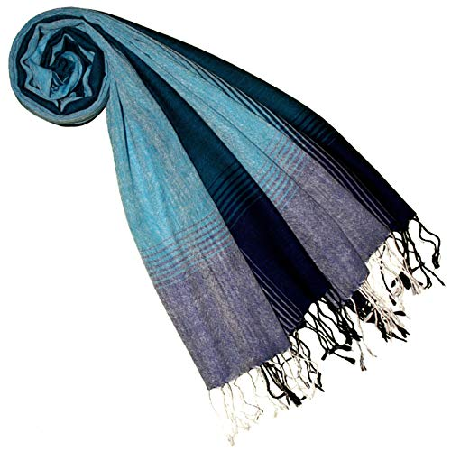 Lorenzo Cana Lorenzo Cana Luxus Pashmina Schal Schaltuch türkis blau 50% Kaschmir 50% Wolle vom Merinolamm Wolle gewebter Kaschmirschal Damenschal Frauenschal 7851077