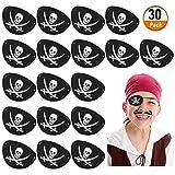 Kulannder 30 Unids Parche de Ojo de Pirata de Fieltro Negro, Pirata Accesorios Parche de Ojo de Capitán de Cráneo Ajustable para Hombres , para Favores de Fiesta de Halloween y Navidad
