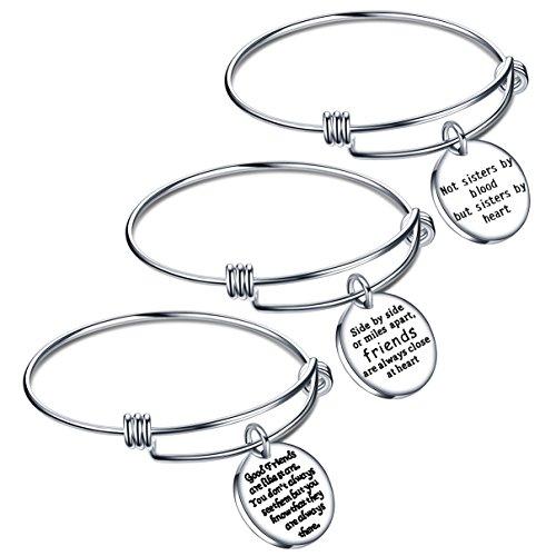 Lauhonmin, braccialetto dell'amicizia rigido con scritta, idea regalo per compleanno, laurea, confezione da 3 pezzi