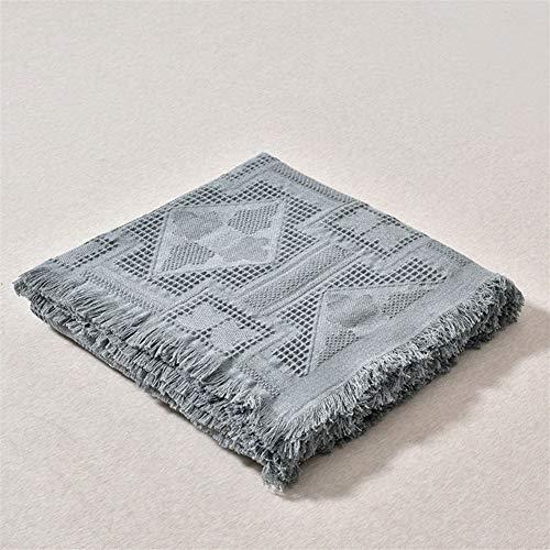 Versátil Hilo de algodón manta Lanza la tela escocesa de la borla del sofá toalla Manta Ocio Funda for la decoración de la sala de estar Sofá Sillón Inicio sofá ( Color : Gray , Size : 180x230cm )