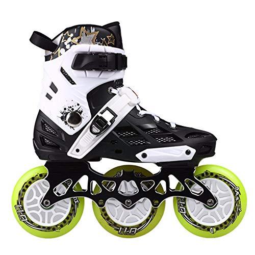 Xyzleo Inline-Skates für Damen, Herren, 3 große Räder, stilvolles Design, Anti-Kollisions-Inline-Skates, verschleißfest, atmungsaktiv und bequem, weiß, 43