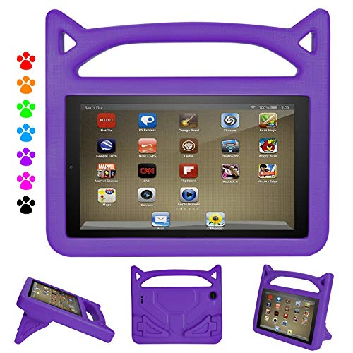 Case for Tablet 7 inch, Ubearkk Kid Proof Light Weight Shock Proof Handle Stand Kids Case for 7 inch Tablet (5th/7th/9th Generation, Compatible with 2019&2017&2015 Release),Purple