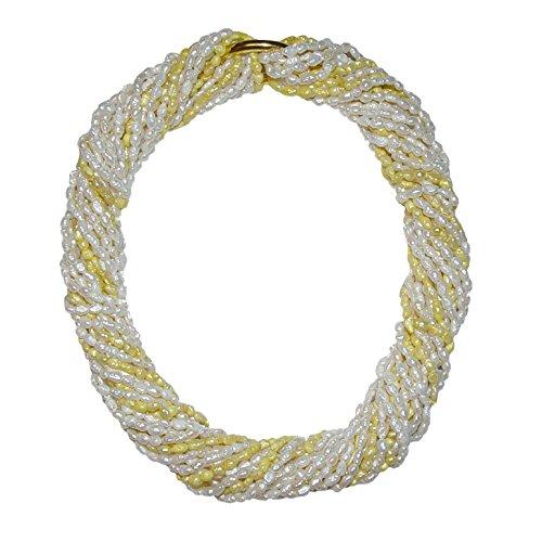 10 Stück Biwa natur gewachsene Süßwasser Perlen Ketten = 1 Collier je einzelne Kette ca. 90 cm 7x rohweiß und 3 x gelb incl. 2 x Kettenverschluss (4602)