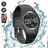 feifuns Smart Watch Non-Bluetooth Kid Pedometer Watch Sport Wristband IP68 Water-Resistant Swim Watch Fitness Tracker with Step/Distance/Calorie/Clock/Timer for Walk Kid Men Women (Black)