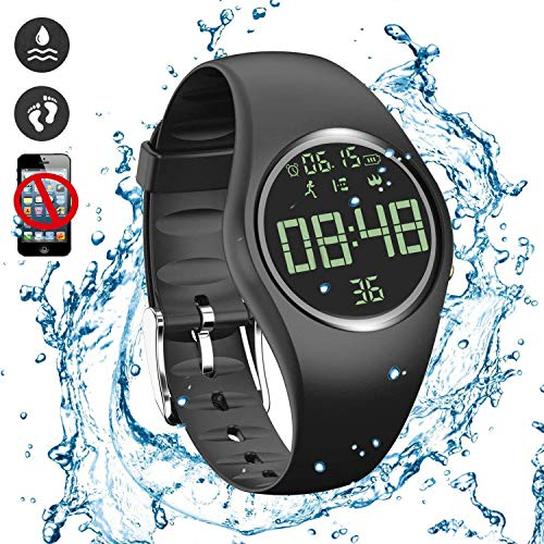 feifuns Smart Watch Non-Bluetooth Kid Pedometer Watch Sport Wristband IP68 Water-Resistant Swim Watch Fitness Tracker with Step/Distance/Calorie/Clock/Timer for Walk Kid Men Women (Black)