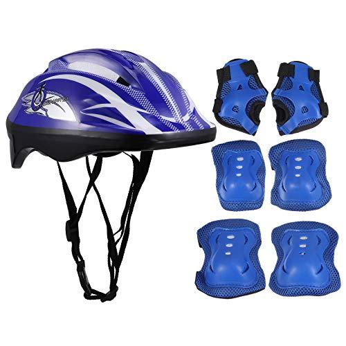 Abaodam 1 juego/7 piezas niños patinaje equipo absorbente casco codos almohadillas suministros