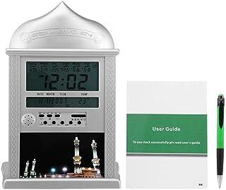 أذان أذان ساعة منبه للصلاة الإسلامية ساعة حائط مكتبية + دليل مستخدم + قلم ، مدعوم ببطارية 4 15 فولت AA (غير مدرجة) ، أسود...