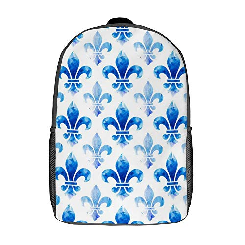 17 Inch Durable Backpacks for Women and Man Blue Fleur De Lis Pattern Breathable Daypack for Outdoor Cycling