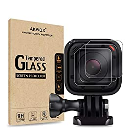 (pack of 3) tempered glass screen protector for gopro hero 4 session hero 5 session, akwox 0. 3mm 9h hard scratch… 2 high hardness: 9h surface hardness tempered glass screen protector for gopro session. Featuring maximum protection from high impact drops, scratches, scrapes, and bumps. High transmittance transparent: with not influence the video shooting effect. Super toughness: the protector will not break into small sharp pieces even if it is broken, which makes it safer than other glass products.