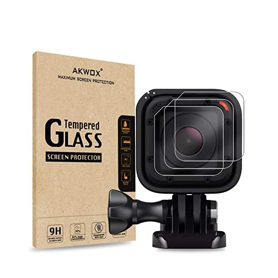 (Pack of 3) Tempered Glass Screen Protector for Gopro Hero 4 Session Hero 5 Session, Akwox 0.3mm 9H Hard Scratch… 1 High Hardness: 9H surface hardness tempered glass screen protector for GoPro session. Featuring maximum protection from high impact drops, scratches, scrapes, and bumps. High Transmittance Transparent: With not influence the Video shooting effect. Super Toughness: The protector will not break into small sharp pieces even if it is broken, which makes it safer than other glass products.