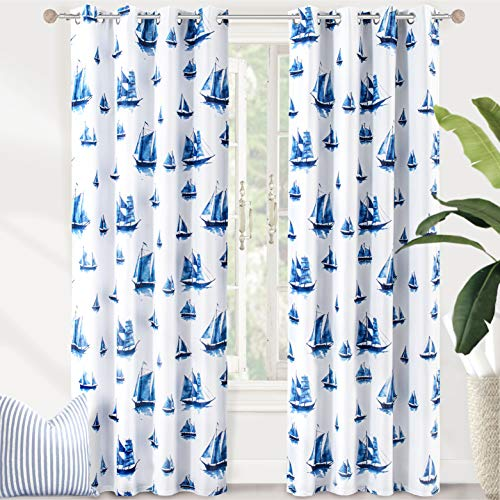 DriftAway Harbor Sailboat Ocean Printed Pattern Blackout Room Darkening Thermal Insulated Grommet Lined Window Curtains 2 Panels Each 52 Inch by 84 Inch Navy