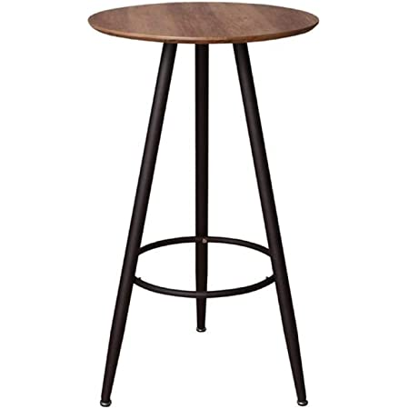 D60xH103 cm Zons Table Mange Debout Rond en Bois Pieds Noir