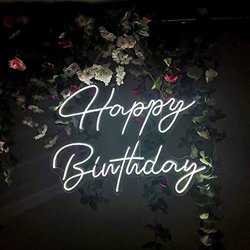 Brochao Fast Delivery Neon Light Sign Joyeux anniversaire, cadeaux pour fille amant, ami, grandes enseignes au néon pour fête d'anniversaire, bureau ou décoration de chambre (blanc froid, 28,3