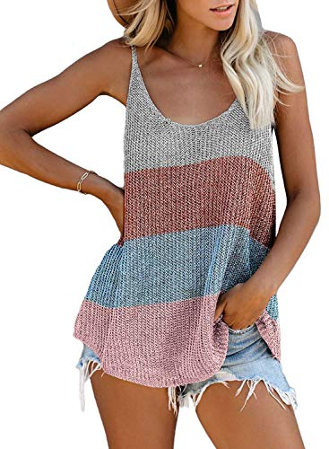 AlvaQ Women Tanks Summer Clothes Sexy V Neck Striped Sleeveless Shirts Blouses Casual Loose Camis Tops Multicolor Small