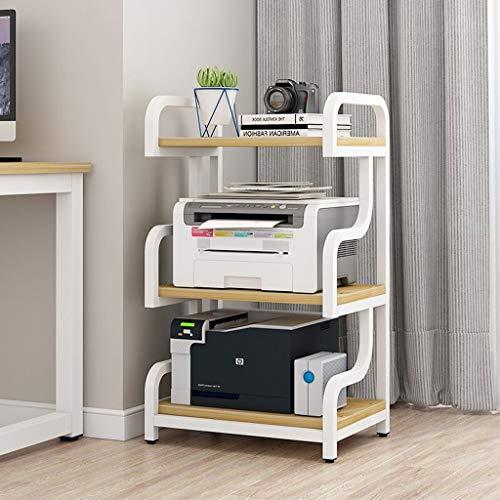 Printer Stands Steel Frame Printer Stand, Multipurpose Storage Shelf for Home, Office, Printer Printer Shelf Near Desk with 4 Cushion, 4 Tier Mobile Printer Cart (Color : White-2)