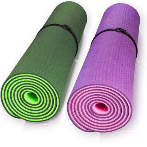 diMio Pilates Yogamatte Gymnastikmatte (TPE) rutschfest, inkl. gratis Tasche (Lila/Pink)
