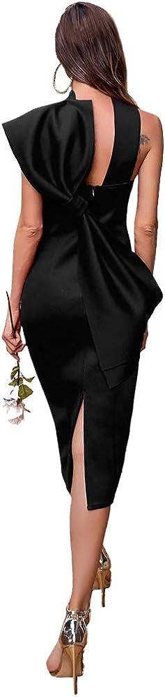 Miss ord Elegant Formal Women Pencil Dress Halterneck Sleeveless Slim Bodycon Prom Party Madi Dress