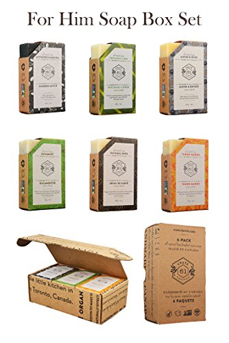 """Crate 61 """"For Him"""" Soap 6-Pack Box Set, 100% Vegan Cold Process Bar Soap, scented with premium essential oils and natural flavors, for men and women, face and body, alpine & spice, eucamint, tango mango, oatmeal shea, patchouli lime, activated charcoal"""