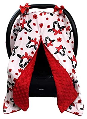 Dear Baby Gear Carseat Canopy, Black and White Heifer Cow Red Dot Bandana and Red Flowers, Red Minky