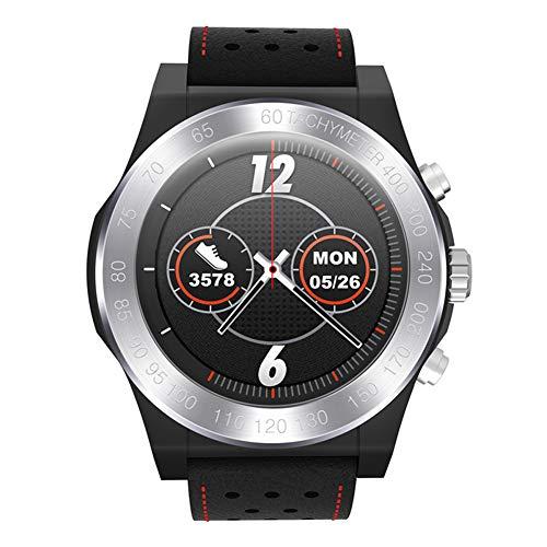 RONSHIN CE 1.3inch Volledige Ronde Kleur Scherm Smart Horloge Fitness Band Hartslagmeter Lederen Band Smart Horloge ZILVER