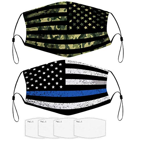 American Flag Camouflage Face Bandana Dust Protection Reusable Mouth Cloth Cover with Adjustable Nose Wire and Ear Loops Half Balaclava, Fashion Rewashable Breathable Re-Useable(2 Pcs)