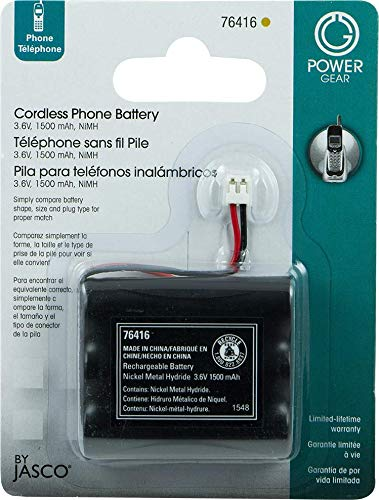 Power Gear Cordless Phone Battery, Rechargeable, Nickel Metal Hydride, 3.6V, 1500mAh, Fits Many Cordless Phone Models Including But Not Limited To Panasonic, Sony, Motorola, RCA, & More, Black, 76416