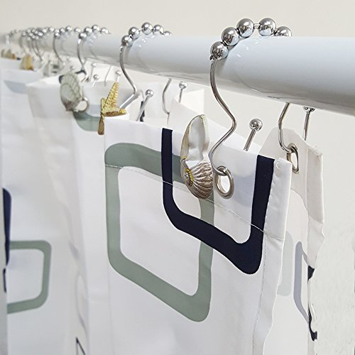 Chictie Shell Stars Roller Balls Shower Curtain Hooks Double Glide Rings Set for Bathroom Linen 100% Stainless Steel Metal Hanger (Natural brown shell starfish conch 12 pieces set)