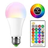 Tioodre 15 W RGBW E27 Ampoules LED à changement de couleur avec télécommande,6000 K à baïonnette Compatible variateur...