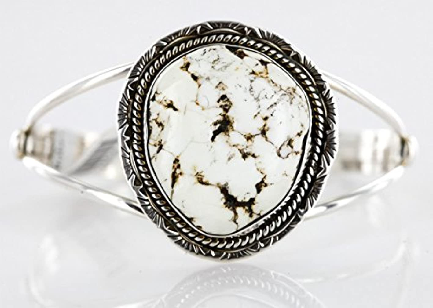 Handmade Certified Authentic Navajo .925 Sterling Silver WHITE Buffalo Turquoise Native American Bracelet hpulpxyxaqk645