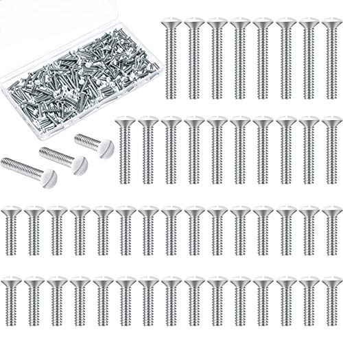 Wall Plate Screws Assorted Size Replacement Outlet Screws White Screws Long Electrical Outlet Screws for Receptacle Outlet Cover, Wall Plate, Light Switch Plate, 3 Sizes (225)