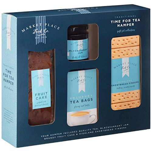 Tea Hamper Gift Set of 1 x Highland Shortbread Biscuits, 1 x Fruit Cake, 1 x Box of 40 Tea Bags, 1 x Jam Preserve. Afternoon Tea Gift Set Collection