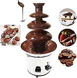 4 Etagen Schokobrunnen Schokoladen-Brunnen aus rostfreiem Edelstahl Schokofondue für Geburtstag Party Weihnachten 170W