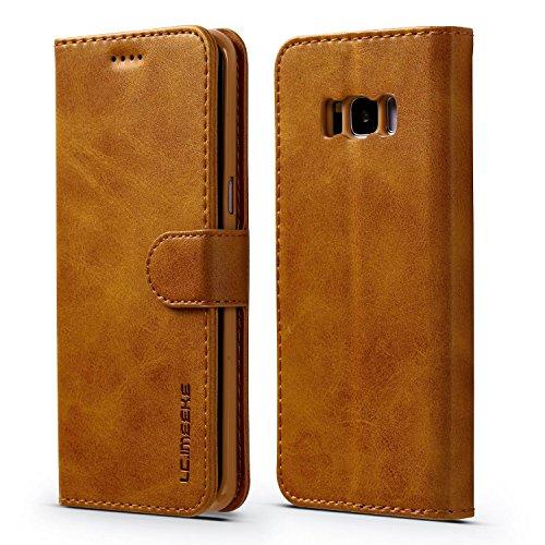 yanzi Funda Samsung Galaxy S8 Plus Funda Carcasa Silicone Case Samsung S8 Plus Funda Protectora Amarillo móvil Cover Libro Caso Cubierta Magnética Billetera Cuero Samsung S8 Plus Carcasa
