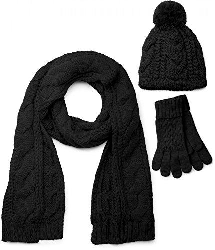 styleBREAKER Schal, Mütze und Handschuh Set, Zopfmuster Strickschal mit Bommelmütze und Handschuhe, Damen 01018208, Farbe:Schwarz / Schal (One Size)