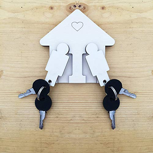 LAC – sleutelhanger voor heren en dames Gay LGBTD van houtdecoratie – perfect cadeau voor Valentijnsdag – ideeën gadget voor het paar geschenk voor jou – romantisch jubileum