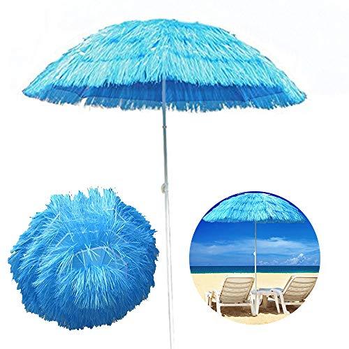 LYBC Hawaiano Stile Ombrellone da Spiaggia,Ombrellone da Giardino Paglia Artificiale,Protezione UV(ø150cm, Blu,Verde,Rosa)