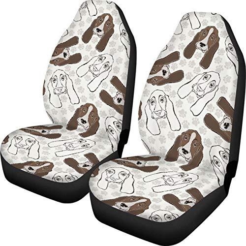 KUILIUPET Cubierta de asiento de coche delantero dibujos animados perros patas patrón impresión universal accesorios decoración interior protector